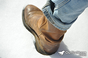 Boot in snow